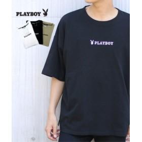 (MARUKAWA/マルカワ)【PLAYBOY】プレイボーイ ビッグシルエット ロゴ刺繍 半袖Tシャツ/メンズ ブラック