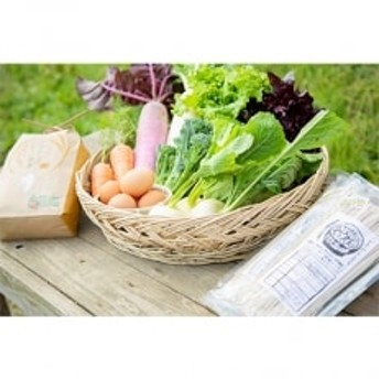 有機農家より 旬の里山のおくりもの(お米1kg・野菜・卵・くろうどんセット)