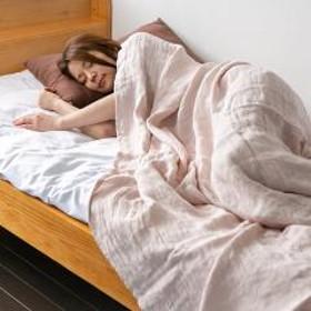 ガーゼケット 近江の麻 先染め 日本製 お昼寝 シングル ピンク