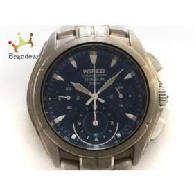 15bed7856a ワイアード WIRED 腕時計 7T11-0AJ0 メンズ チタン/クロノグラフ ネイビー 新着 20190528