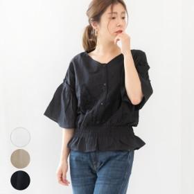 ブラウス - LAPULE レディース ファッション 大きいサイズ 30代 40代 春 夏 ブラウス 刺繍 半袖 ゆったり カジュアル フレアスリーブ インド綿 可愛い きれいめ