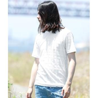 ジギーズショップ チェックジャガードパイルTシャツ / Tシャツ メンズ ティーシャツ 半袖 クルーネック メンズ ホワイト M 【JIGGYS SHOP】
