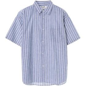 【5,000円以上お買物で送料無料】mens 綿麻ストライプ&チェック半袖シャツ