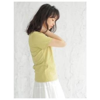アースミュージックアンドエコロジー earth music&ecology ベーシッククルーネックTシャツ (Yellow)
