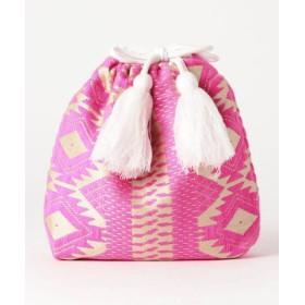 Swaraj スワラージ 幾何学ジャガード巾着バッグ 9-0552-2-32-104