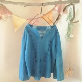 【sale】藍染 Ethnic刺繍カットソー
