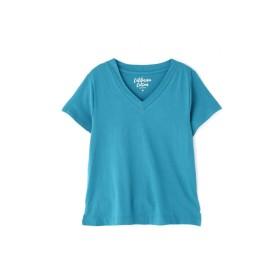 【公式/フリーズマート】カルフォルニアコットンVネックTシャツ/女性/カットソー/ブルーグリーン/サイズ:FR/コットン 100%
