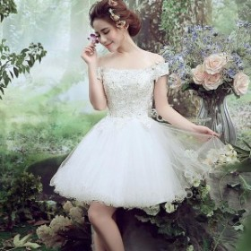 ミニドレス 白 安い ウエディングミニドレス 結婚式 発表會 披露宴 パーティドレス 二次會 ウェディングドレス 花嫁 ミニドレ