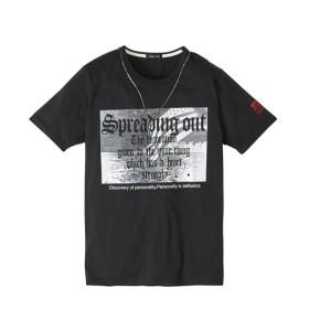 アクセサリー付きプリント半袖Tシャツ Tシャツ・カットソー