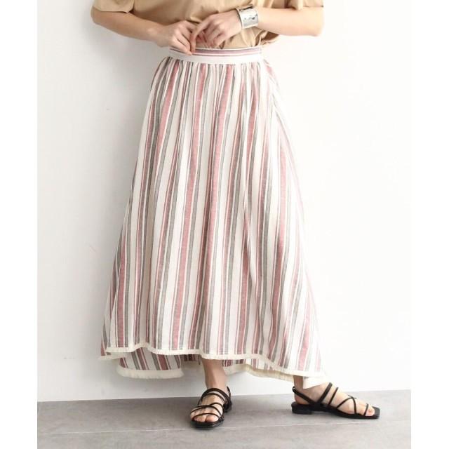 OZOC(オゾック) リネンブレンドストライプフリンジボリュームスカート