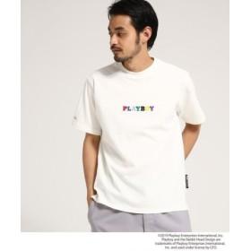 (BASE STATION/ベースステーション)コラボ別注 PLAYBOY プレイボーイ 刺繍 半袖 Tシャツ/メンズ アイボリー(004)