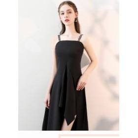 キャミソール ワンピース パーティドレス ブラック著痩せセクシー イブニングドレス フォーマル キャバドレス お呼ばれ パーティ