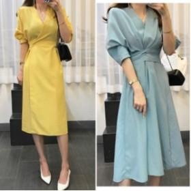 フレアワンピース リボンポイント 麻混 デート 韓国ファッション 韓国ワンピース