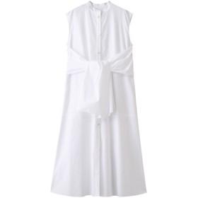 LE CIEL BLEU ルシェルブルー タイフロントスリーブレスドレス ホワイト