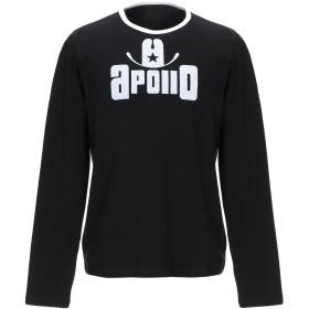 《セール開催中》APOLLO メンズ T シャツ ブラック S コットン 90% / ポリウレタン 10%