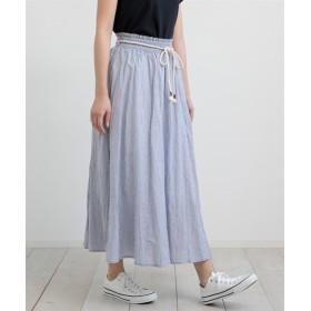 ふんわりフレアスカート(ロープベルト付) (ロング丈・マキシ丈スカート),skirt