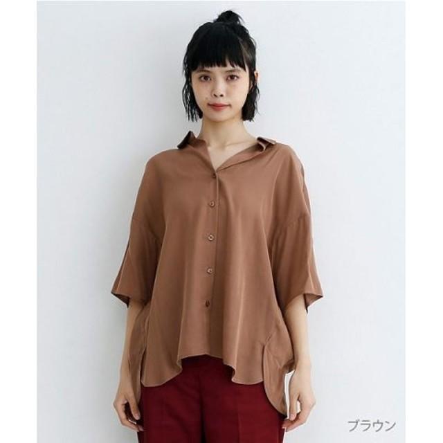(merlot/メルロー)オープンカラールーズシャツ/レディース ブラウン