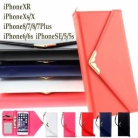 iPhoneXR iPhoneXs/X iPhone8/7 iPhone8/7Plus iPhone6/6s iPhoneSE/5/5s ケース カバー  手帳 カード収納 三つ折り ストラップ付