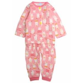パジャマ ベビー 赤ちゃん 女の子 中綿 綿100% ウサギ柄 腹巻き付き 長袖 寝巻き 上下セット 6255A