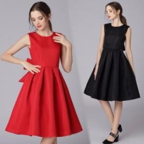 タンクワンピース ドレス 後ろビッグリボン付き Aラインドレス フォーマルワンピース 二次会 ノースリーブ シンプル 無地 ベーシ