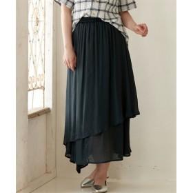2枚重ねロングスカート (大きいサイズレディース)スカート