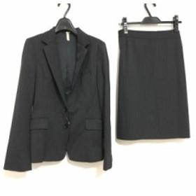 グリーンレーベルリラクシング スカートスーツ サイズ40 M レディース 美品 ダークグレー×ピンク×黒 肩パッド/ストライプ【中古】