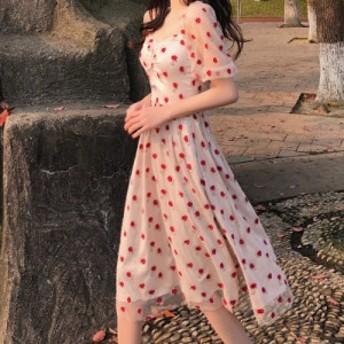 スーパーレトロな女性の膝フランスの小さなplatycodonスカートの上のフランスのレトロなスカートは非常に妖精のドレスの夏のメ