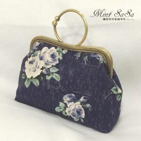 MintSaSa パープルローズゴールドバッグは日本の花布で裏打ちすることができます厚手の裏地コットンバッグハンドバッグサイド