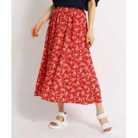 THE SHOP TK(Women)(ザ ショップ ティーケー(ウィメン)) 花柄切り替え楊柳スカート