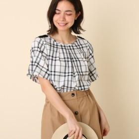 [マルイ]【セール】【洗える】かすりチェックブラウス/クチュールブローチ(Couture Brooch)