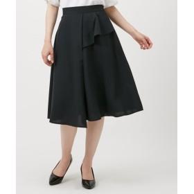 麻調合繊前フリルデザインフレアスカート (ひざ丈スカート),skirt