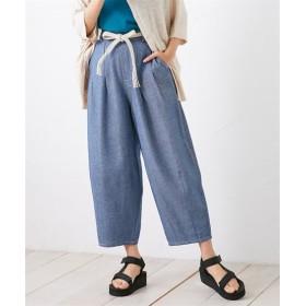【接触冷感。UVカット】ゆったりコクーンパンツ(ベルト付) (レディースパンツ),pants