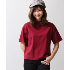 WEGO WEGO/デイリーハイネック5分袖Tシャツ(ワイン)【返品不可商品】