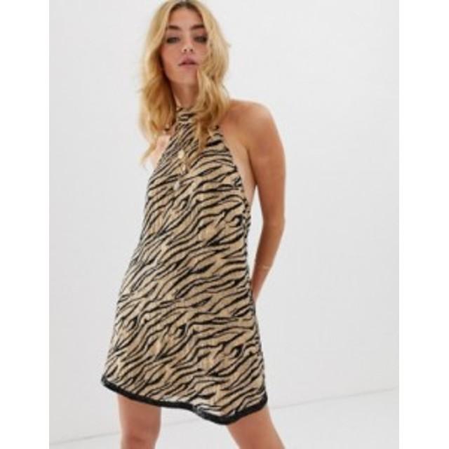 エイソス レディース ワンピース トップス ASOS DESIGN halter mini dress in animal sequin Animal sequin