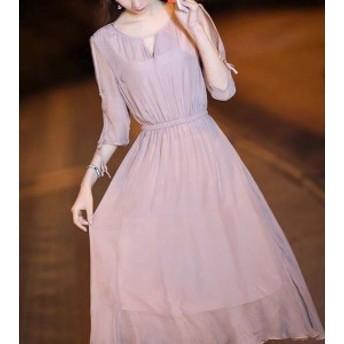 ピンク シフォン ミディ丈 ワンピース ドレス♪ お呼ばれ 大人かわいい ワンピース 結婚式 ドレス フォーマルドレス パーティードレ