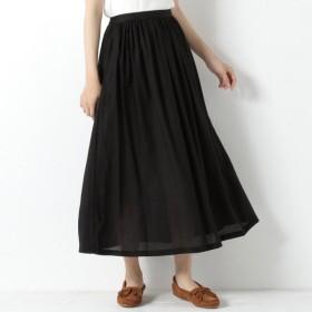 スカート レディース ロング 麻レーヨン素材のギャザースカート 「ブラック」