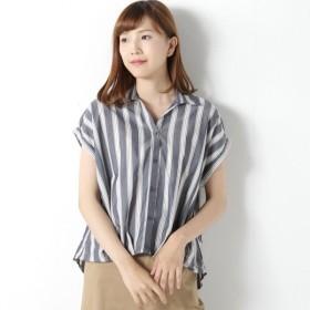 ワンピース チュニック レディース 綿混裾タックストライプシャツチュニック 「ネイビー」