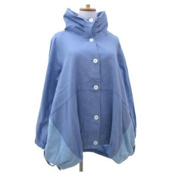 ビットコ BITTOKO コート スタンドカラー ルーズシルエット 異素材 切替え フード付き ジャケット 38 青 ブルー
