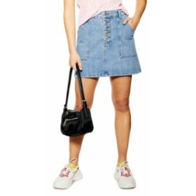 トップショップ レディース スカート ボトムス Topshop Button Fly Denim A-Line Miniskirt (Petite) Mid Denim