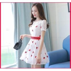 ドレス 半袖 スリム 刺繍 ミドルウエスト ラウンドネック 花 短い フェミニン デート 2019 春 夏