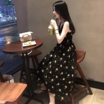 フランスのレトロベルフラワーベストスカート妖精のハートマシン小さな黒いスカートの気質甘い星ノースリーブのドレス