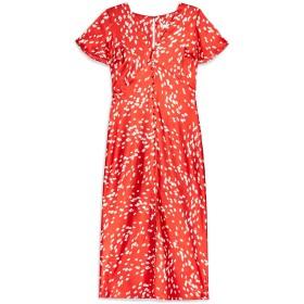 《セール開催中》TOPSHOP レディース 7分丈ワンピース・ドレス レッド 6 ポリエステル 100% DALMATIAN ANGEL SLEEVE DRESS