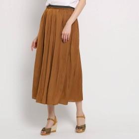 スーナウーナ SunaUna 【洗える】アンピクシスサテン ロングスカート (ブラウン)