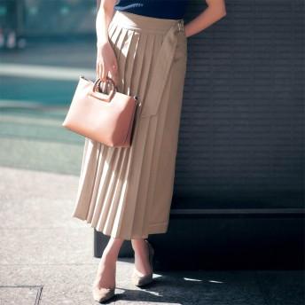 ラップ風麻調素材フロントプリーツスカート