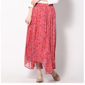【J Lounge:スカート】楊柳フラワープリントアシンメトリーヘムスカート