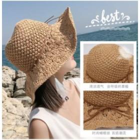 レディース帽子 麦わら帽子 レディース uvカット帽子 大きいサイズ つば広帽子 キャップ 春 夏 uv 折りたたみ ひも つば広 UVカット帽子