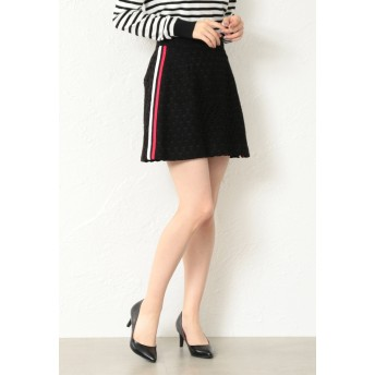 GUILD PRIME 【GUILD PRIME】スターレースサイドラインスカート ショート・ミニ丈スカート,ブラック