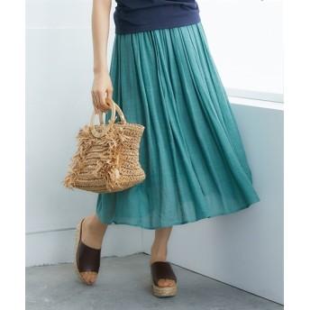 ふわり軽い楊柳ロングスカート
