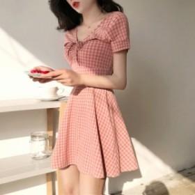 スカートの夏の女の子新しい女の子の心の妖精imiss格子スーパー妖精v小さなハイウエストの綿のドレス