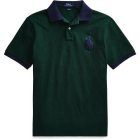 《期間限定セール開催中!》POLO RALPH LAUREN メンズ ポロシャツ グリーン S コットン 100% CUSTOM SLIM FIT MESH POLO